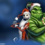 Jack as Santa with Boogie Man Christmas Wallpaper