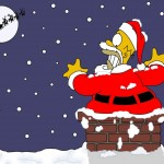 Homer Stuck in a Chimney Christmas Wallpaper
