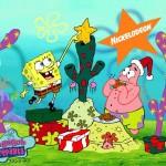 Spongebob Squarepants and Patrick Celebrate Christmas Wallpaper
