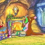 Roo and Winnie the Pooh by the Fire Christmas Wallpaper