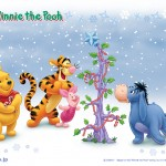 Winnie, Tigger, Piglet, and Eeyore in the Snow Christmas Wallpaper