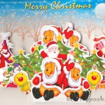Winnie the Pooh Wishes you a Merry Christmas Wallpaper